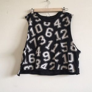 Black and White Numbered Crop Muscle Tee